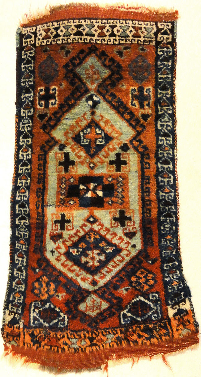 Antique Turkish Yastik ca 1900. A piece of genuine woven carpet art sold at Santa Barbara Design Center, Rugs and More in Santa Barbara, California.