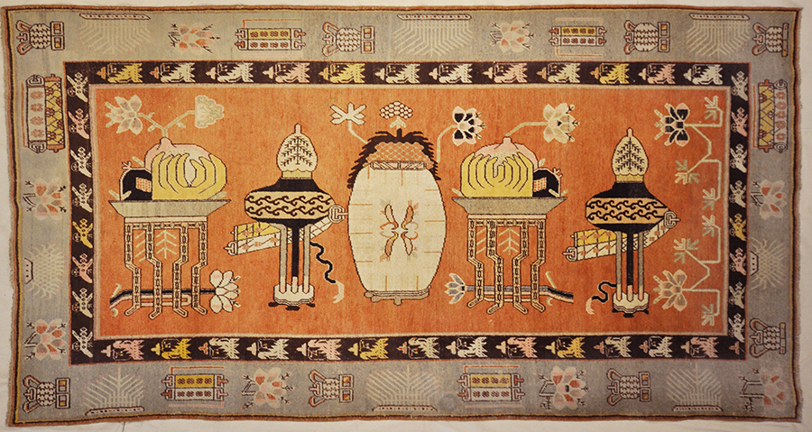 Oushak rugs began just south of Istanbul, Turkey, named after the town: Oushak. The Oushak carpet is Persian-influenced unlike most Turkish rugs. The town of Oushak has produced Turkish rugs ever since the 15th century.