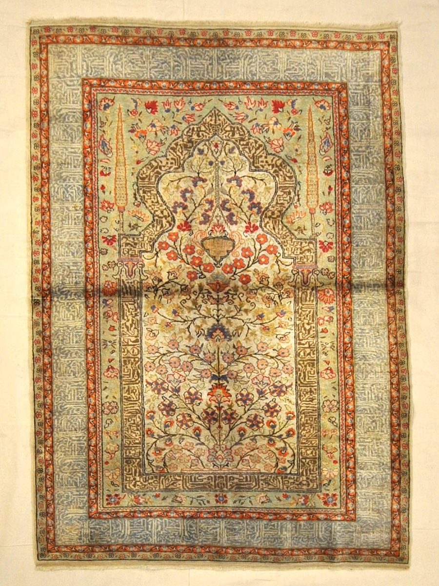 Antique Silk Turkish Kaysari Rug Santa Barbara Design Center