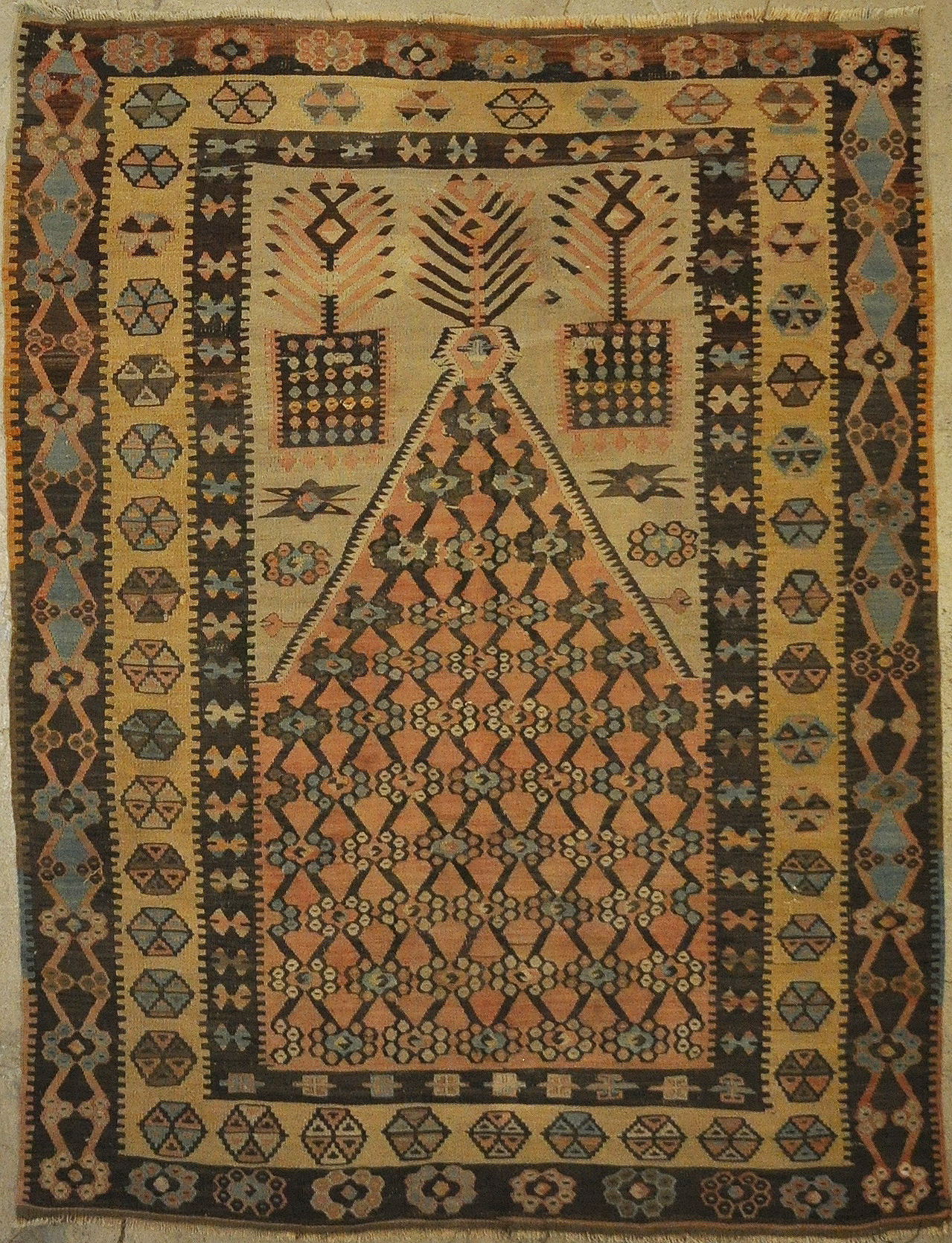 Antique Prayer Turkish Rug