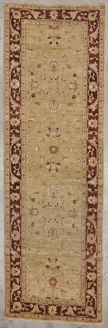 Fine Ziegler Usak Runner  Classic motif paired with a modern color palette. 4 x 12'4
