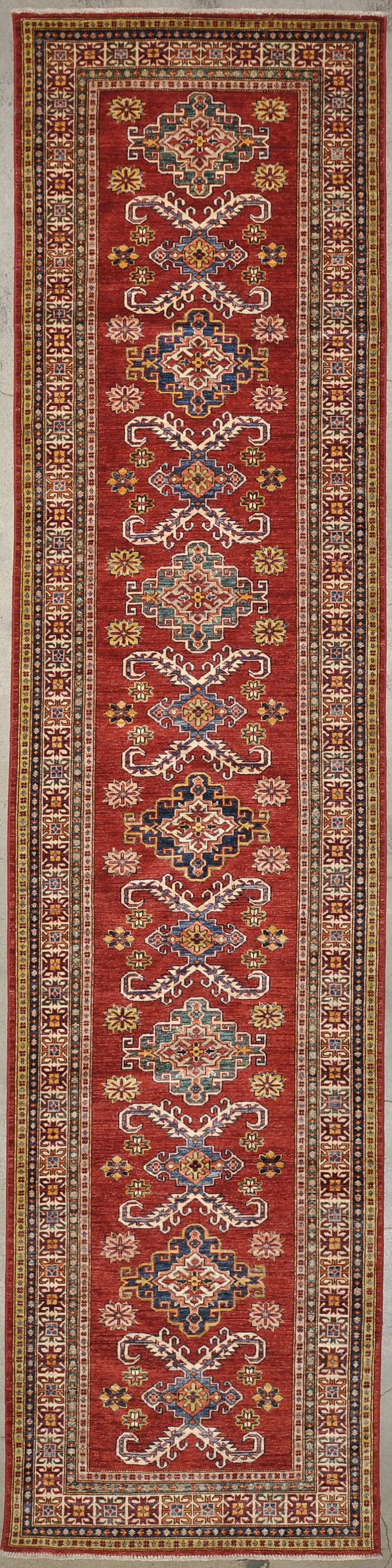 Ziegler & Co Caucasian hand knotted from natural wool and organic dyes 3'3 x 13'6