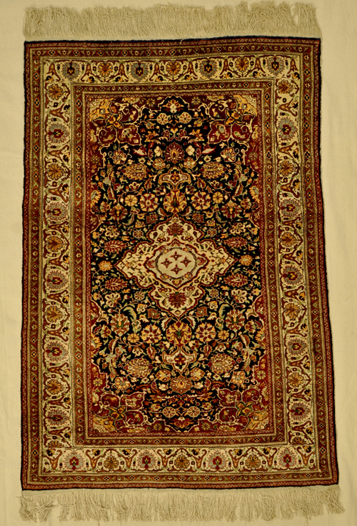 Antique Silk Hereke W/ Silver rugs a nd more -