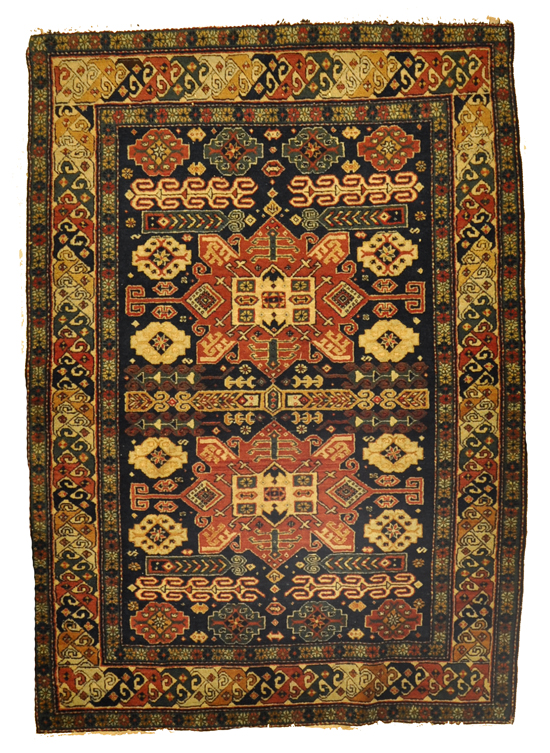 Antique Shirvan rugs – The historic Khanate or administrative district of Shirvan produced many highly decorative antique rugs that have a formality and stylistic complexity that is found in few rugs from the Caucasus. 3'4 x 4'9