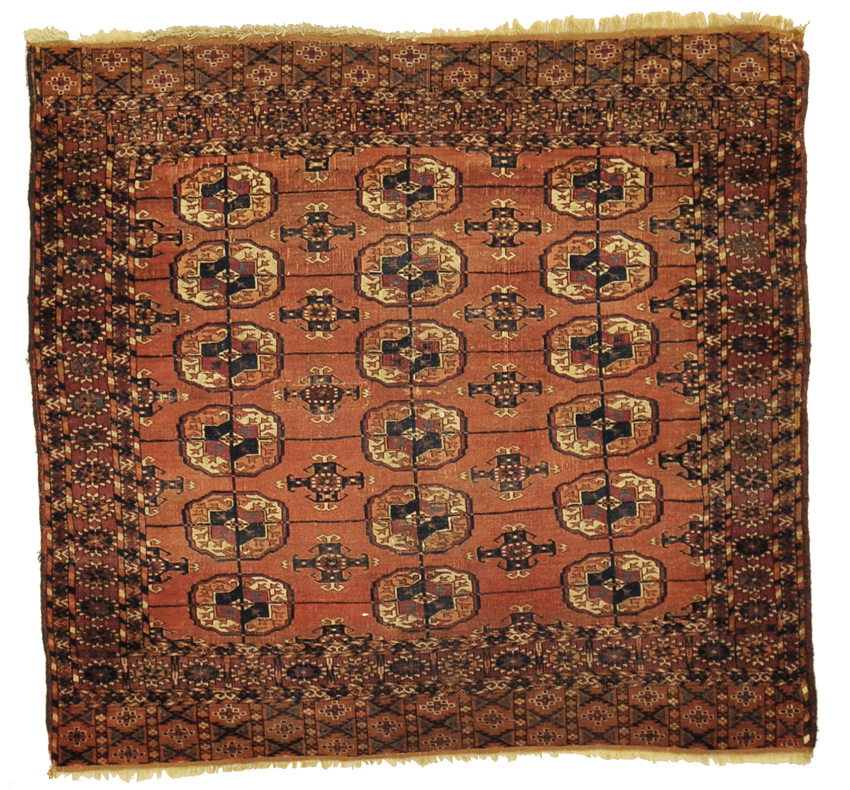 Antique Turkaman Rug featuring repeated design. Made with wool and organic dyes. 3'6 x 3'9
