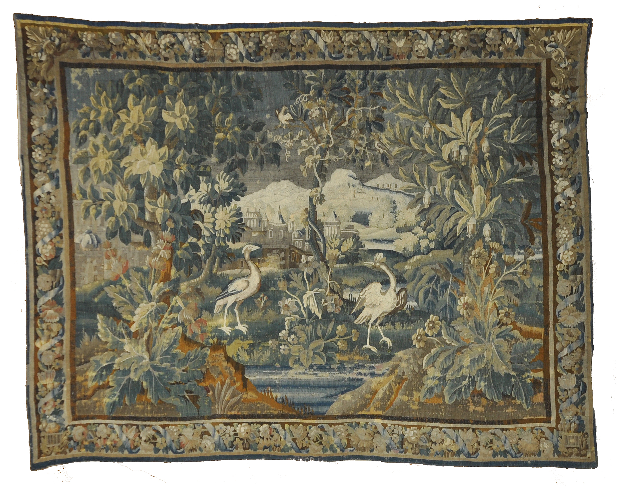 17th Century Flemish Tapestry 17th Century Flemish Tapestry hand made from natural wool. Featuring unique design and scenery of birds and mother nature. 9'1 x 11'6